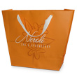 Matte laminated trapezoid bags printed with 3 colors with natural cotton ribbon handles